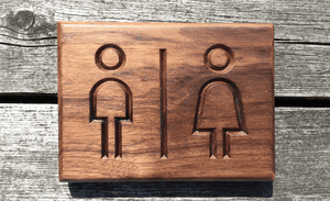 Restroom, Toilet, Lavatory, Water Closet Walnut Sign