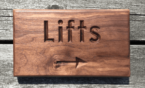 Lifts Elevator Arrow to the right Solid Walnut Sign