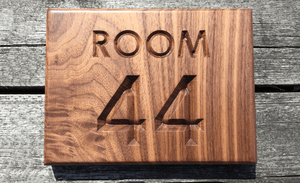 Room 44 Hotel Room, Bed and Breakfast, hospitality sign for room numbers made from solid walnut elegant look