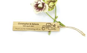 Tractor Thank You For Attending My Wedding that Farmers Love Bookmark Made From Solid & Sustainable Bamboo