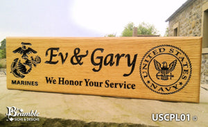 Memorial & Commemorative Plaques - Armed Forces - 380 x 110mm - Bramble Signs Engraved Wall Mounted & Freestanding Oak House Signs, Plaques, Nameplates and Wooden Gifts