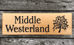 380 x 110 Solid oak house sign featuring an oak tree