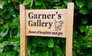 Ladder Sign - Small - 380 x 220mm - Posts 45 x 45 x 915mm - Bramble Signs Engraved Wall Mounted & Freestanding Oak House Signs, Plaques, Nameplates and Wooden Gifts FONT: GOUDYOLD
