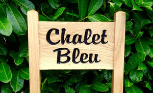 Ladder Sign - Small - 380 x 220mm - Posts 45 x 45 x 915mm - Bramble Signs Engraved Wall Mounted & Freestanding Oak House Signs, Plaques, Nameplates and Wooden Gifts FONT: BROPHYSCRIPT
