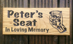 Small House Sign saying peters seat in loving memory with a hand picture FONT: MARKER FELT