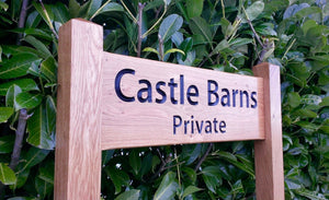 Ladder Sign - Large - 720 x 220mm - Posts 70 x 70 x 1520mm - Bramble Signs Engraved Wall Mounted & Freestanding Oak House Signs, Plaques, Nameplates and Wooden Gifts