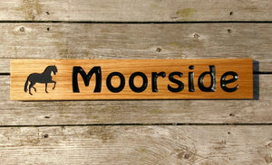 Stable Sign - Extra Long Thin - 650 x 110mm - Bramble Signs Engraved Wall Mounted & Freestanding Oak House Signs, Plaques, Nameplates and Wooden Gifts