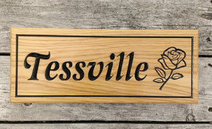 Tessville Rose House Sign Custom Made FONT: LATIENNE ITALIC