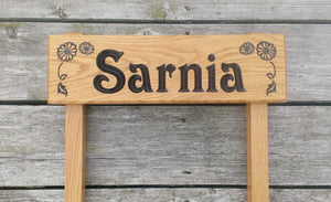 Ladder Sign - Extra Small - 380 x 110mm - Posts 28 x 28 x 450mm - Bramble Signs Engraved Wall Mounted & Freestanding Oak House Signs, Plaques, Nameplates and Wooden Gifts FONT: VICTORIAN