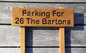 Ladder Sign - Extra Small - 380 x 110mm - Posts 28 x 28 x 450mm - Bramble Signs Engraved Wall Mounted & Freestanding Oak House Signs, Plaques, Nameplates and Wooden Gifts FONT: ARIAL