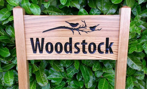 Woodstock medium ladder sign with a bird on a branch engraving