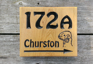 Number Sign - Large Square - 220 x 190mm - Bramble Signs Engraved Wall Mounted & Freestanding Oak House Signs, Plaques, Nameplates and Wooden Gifts