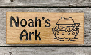 Small House Sign noahs ark and boat image FONT: HOBO