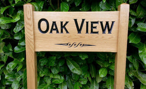 Medium Ladder Sign oak view and a scroll detail