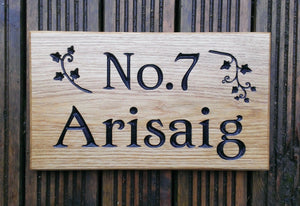 Number Sign - Large - 380 x 220mm - Bramble Signs Engraved Wall Mounted & Freestanding Oak House Signs, Plaques, Nameplates and Wooden Gifts