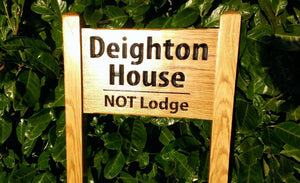 Ladder Sign - Small - 380 x 220mm - Posts 45 x 45 x 915mm - Bramble Signs Engraved Wall Mounted & Freestanding Oak House Signs, Plaques, Nameplates and Wooden Gifts FONT: MYRIAD PRO