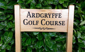 medium ladder sign engraved with the details ardgryffe golg course and scroll