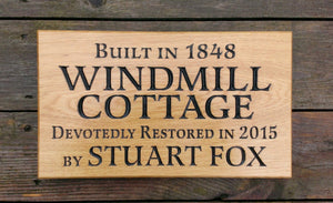HOUSE SIGNS - LARGE - 380 x 220mm - Bramble Signs Oak House Signs and Wooden Gifts FONT: LATIENNE