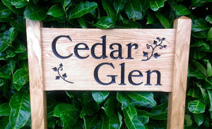 Medium Ladder Sign engraved with cedar glen and ivy spriggs
