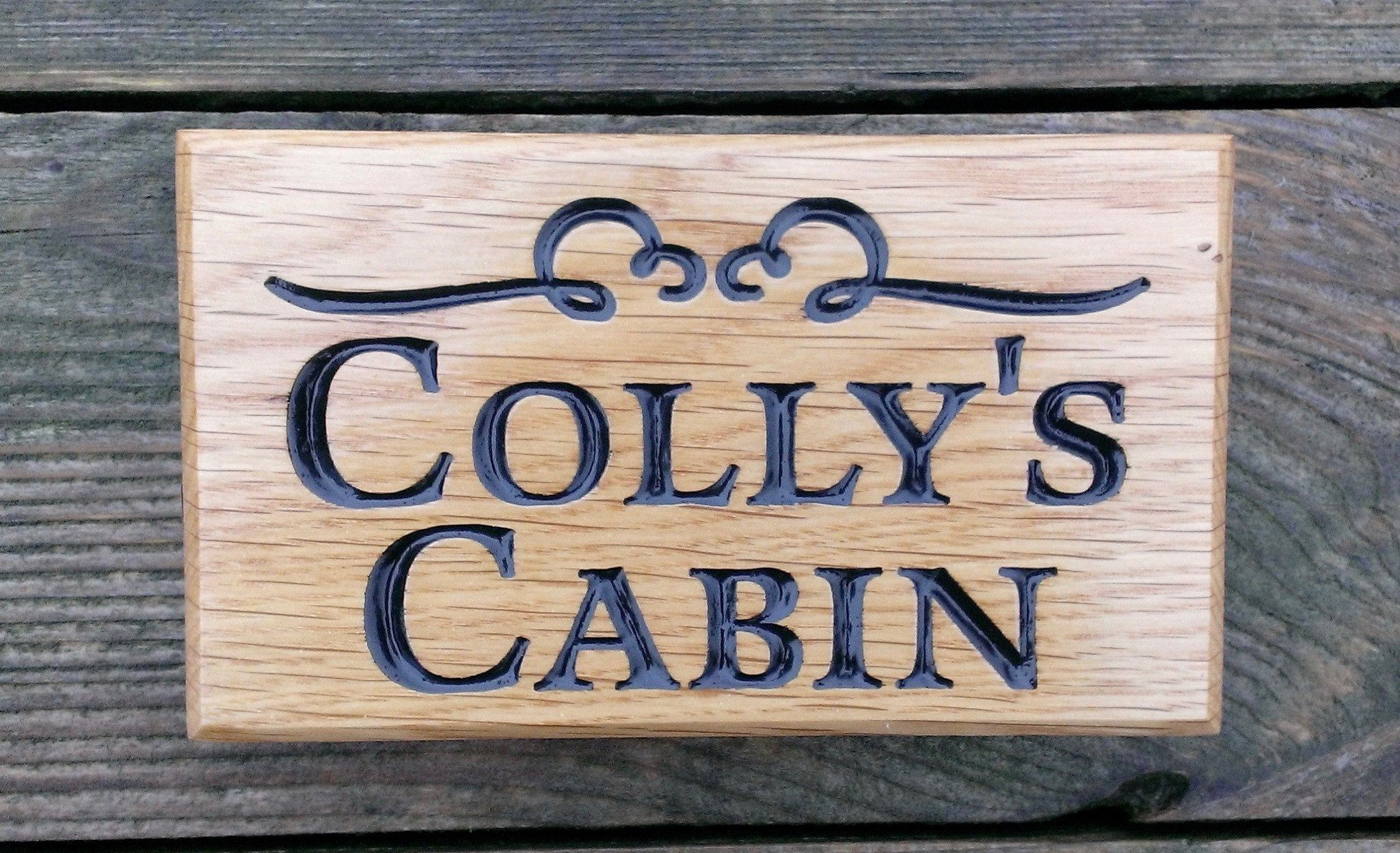 Extra small house name plate engraved with collys cabin and scroll font latienne