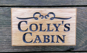 Extra Small House Name Plate engraved with collys cabin and scroll FONT: LATIENNE