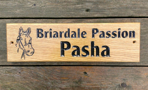 Stable Sign - Long Thin - 380 x 110mm - Bramble Signs Engraved Wall Mounted & Freestanding Oak House Signs, Plaques, Nameplates and Wooden Gifts