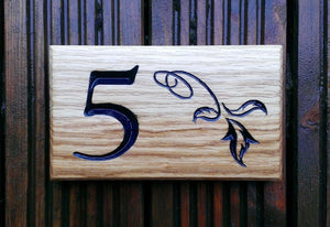 Number Sign - Extra Small - 190 x 110mm - Bramble Signs Engraved Wall Mounted & Freestanding Oak House Signs, Plaques, Nameplates and Wooden Gifts