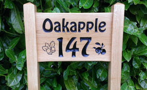 Ladder Sign - Small - 380 x 220mm - Posts 45 x 45 x 915mm - Bramble Signs Engraved Wall Mounted & Freestanding Oak House Signs, Plaques, Nameplates and Wooden Gifts FONT: VICTORIAN