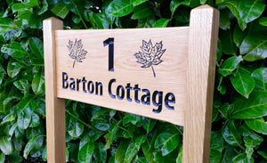 Medium Ladder Sign barton cottage and engraved maple leaves