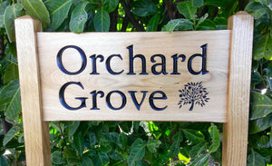 Medium Ladder Sign orrchard grove and an engraved apple tree