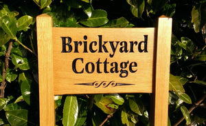 Ladder Sign - Small - 380 x 220mm - Posts 45 x 45 x 915mm - Bramble Signs Engraved Wall Mounted & Freestanding Oak House Signs, Plaques, Nameplates and Wooden Gifts FONT: LATIENNE