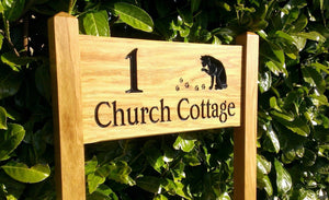 Medium Ladder Sign engraved with 1 church cottge and a cat