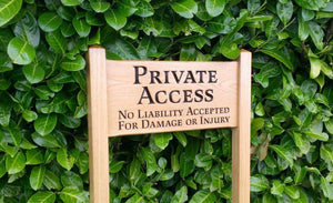 Medium Ladder Sign private access and a scroll