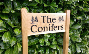 Medium ladder sign  the conifers and engraved conifer trees