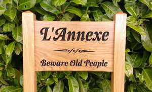 Ladder Sign - Small - 380 x 220mm - Posts 45 x 45 x 915mm - Bramble Signs Engraved Wall Mounted & Freestanding Oak House Signs, Plaques, Nameplates and Wooden Gifts FONT: LATIENNE ITALIC