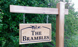 Gallows Bracket for Large Signs - Bramble Signs Engraved Wall Mounted & Freestanding Oak House Signs, Plaques, Nameplates and Wooden Gifts