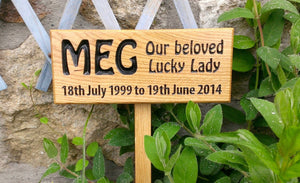 Memorial & Commemorative Plaques - Plaque with Stake - 265 x 110mm - Bramble Signs Engraved Wall Mounted & Freestanding Oak House Signs, Plaques, Nameplates and Wooden Gifts