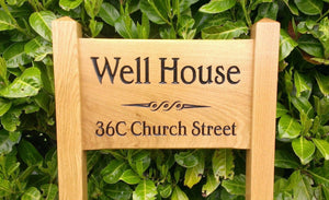 Ladder Sign - Small - 380 x 220mm - Posts 45 x 45 x 915mm - Bramble Signs Engraved Wall Mounted & Freestanding Oak House Signs, Plaques, Nameplates and Wooden Gifts