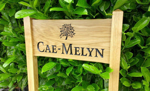 Medium Ladder Sign engraved with a name and apple tree