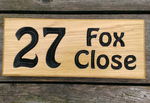 Number Sign - Small - 265 x 110mm - Bramble Signs Engraved Wall Mounted & Freestanding Oak House Signs, Plaques, Nameplates and Wooden Gifts