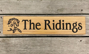 Stable Sign - Longer Thin - 500 x 110mm - Bramble Signs Engraved Wall Mounted & Freestanding Oak House Signs, Plaques, Nameplates and Wooden Gifts