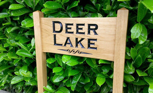 Medium Ladder Sign with deer lake engraving underlined with a scroll
