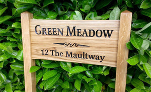Medium Ladder Signnamed green meadow and scoll engraving