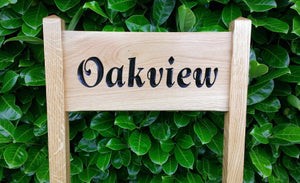 Medium Ladder Sign with oak view engraved on it