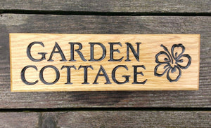 Small Thin House Plaque engraved with garden cottage and Flower image FONT: EDWARDIAN