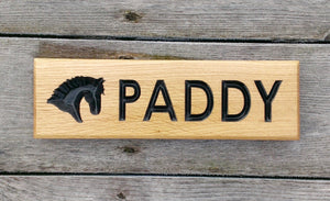Stable Sign - Small Thin - 265 x 80mm - Bramble Signs Engraved Wall Mounted & Freestanding Oak House Signs, Plaques, Nameplates and Wooden Gifts