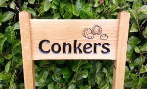 Medium Ladder Sign the conkers and chestnuts engraved on it