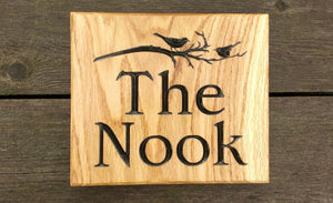Square House Name Plate saying the nook and a picture of birds on a branch: EDWARDIAN