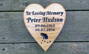 Memorial & Commemorative Plaques - Heart with Stake - 210 x 185mm - Bramble Signs Engraved Wall Mounted & Freestanding Oak House Signs, Plaques, Nameplates and Wooden Gifts