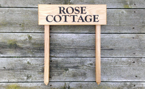 Ladder Sign - Extra Small - 380 x 110mm - Posts 28 x 28 x 450mm - Bramble Signs Engraved Wall Mounted & Freestanding Oak House Signs, Plaques, Nameplates and Wooden Gifts FONT: COCHIN